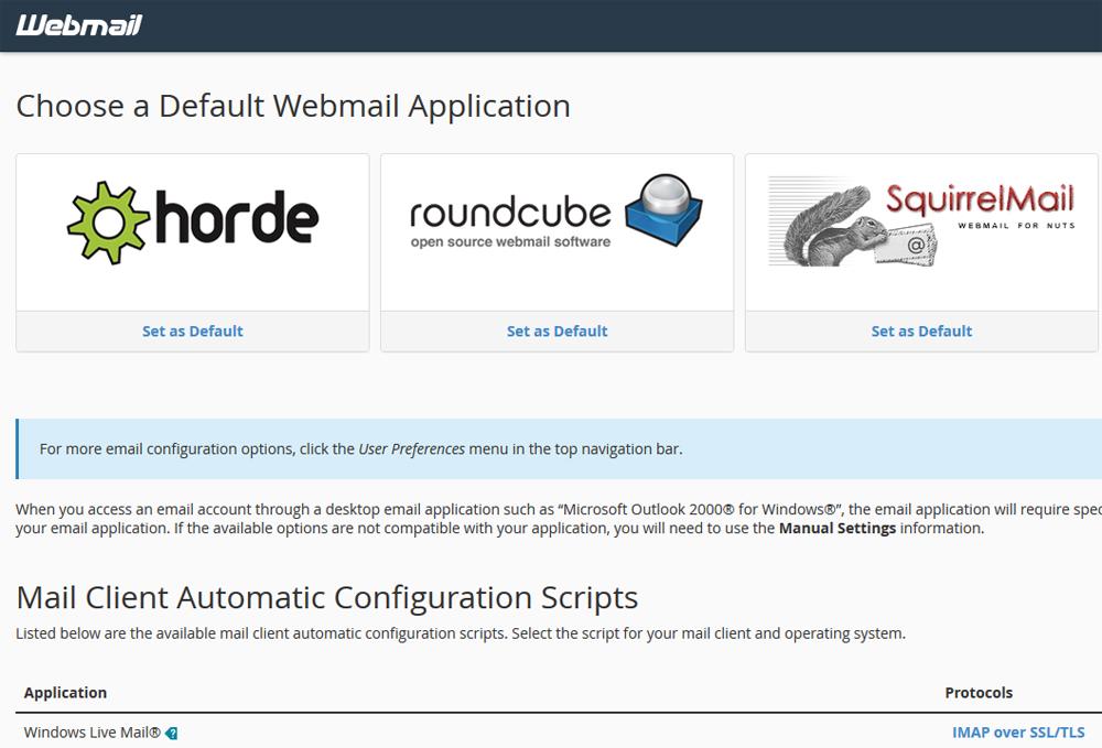 webmail Erjon Webdesign horde squirrelmmail roundcube